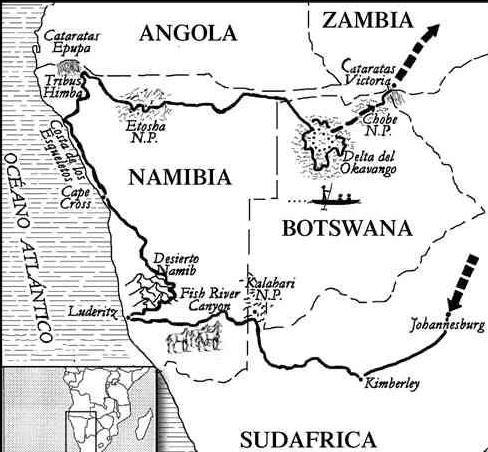 ruta okavango mapa