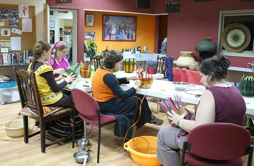 Basket-weaving class at the belly-dancing studio