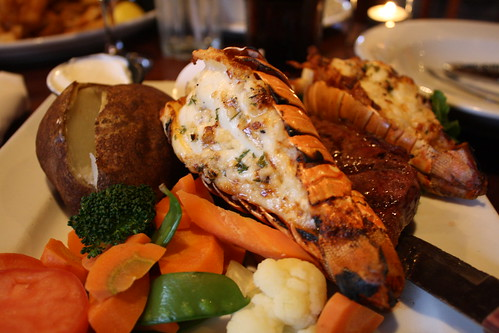 steak and lobster tails at the boathouse