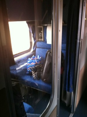 Packed and ready to leave our Amtrak Roomette that has been our home & office since Thursday.