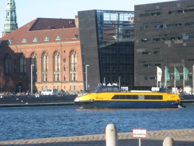 You can see the old Royal Library building (brick) and the new building (the Black Diamond)