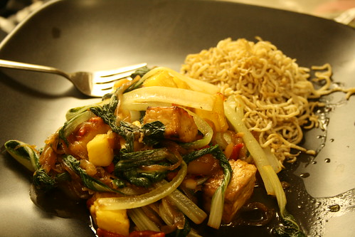 Pineapple Bok Choy Tofu Stiry Fry with Shirataki Noodles