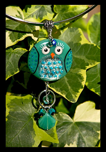 BINDI BIRD Fused glass pendant by Sandra Miller