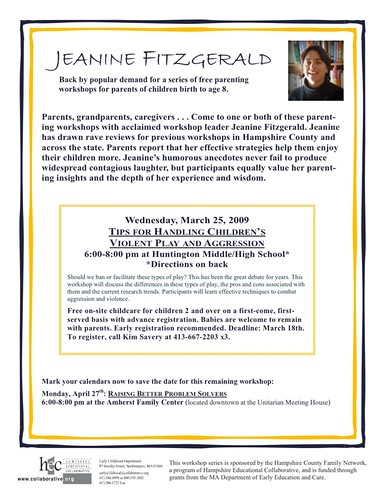 Workshop:   Tips for Handling Children's Violent Play and Aggression (03/25/09)