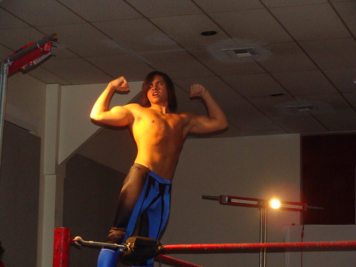 Brandon Aarons shows why he is irresistably flawless prior to his match against Mark Sterling on Jan. 2, 2008. Photo by Kari Williams