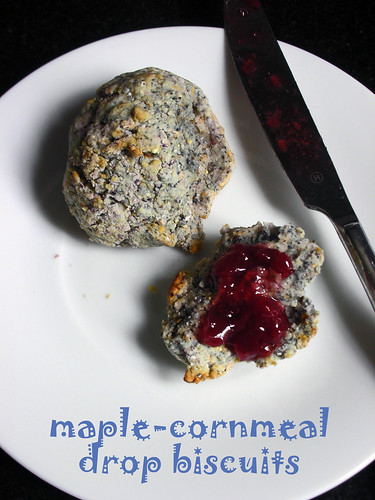 maple-cornmeal drop biscuits