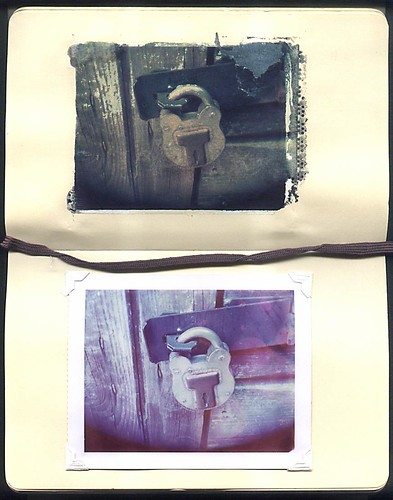 Padlock shot on Polaroid 4x5 Type 59 film. Cambo monorail camera, with Kodak Aniton lens. Image transfered into Moleskine sketch pad (top) remaining print image fixed into pad (bottom)