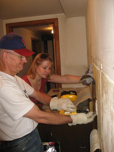 Dad & me demoing kitchen