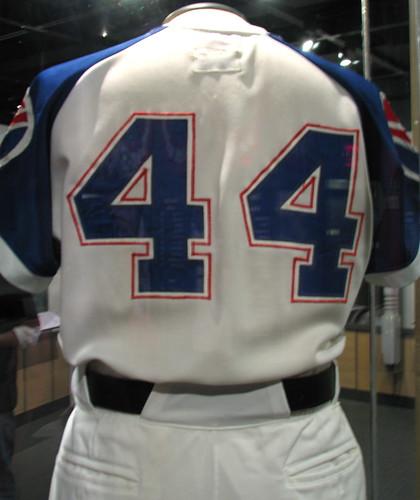 atlanta ny june 1974 belt uniform pants baseball display jersey halloffame 2009 braves homerun cooperstown hankaaron chasingthedream