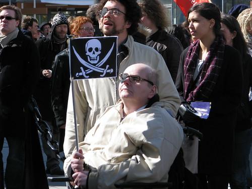 Stöd för Pirate Bay vid Piratpartiet-demonstration