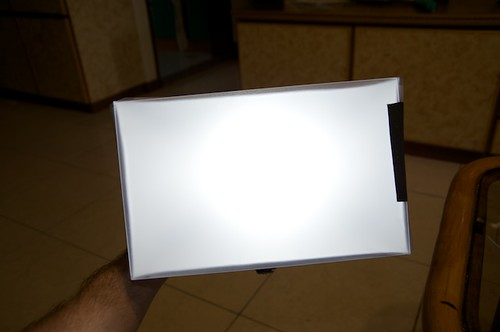 A look at the distribution of the light through the front of the DIY soft box.
