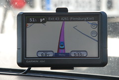 Sat nav in use