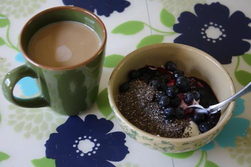 coffee,  yogurt, chia seeds, blueberries