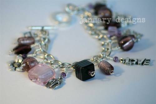 velvet plum charm bracelet with toggle