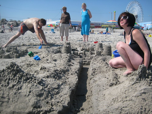 We built a cool sand castle.