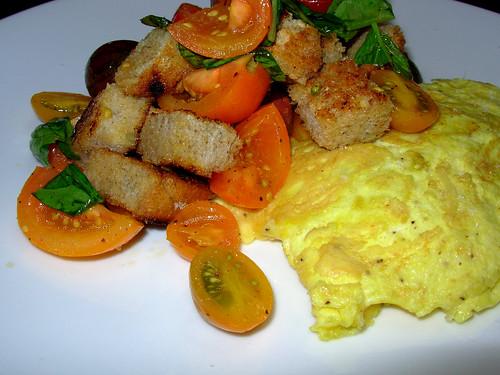 Panzanella and omelette