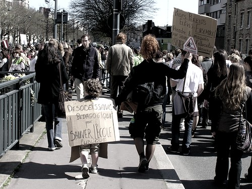 Pedagogic disobedience to save public school (son) Parents, Kids, Teachers, Lets go together underground! (mom)