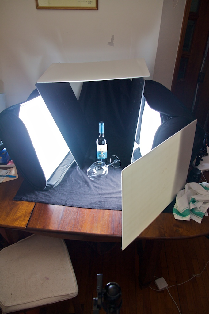 Set up shot for the Wine Bottle and Glass