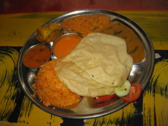 The best thali ever at the Rasta Cafe in Hampi