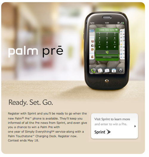 sprint palm pre giveaway contest sweepstakes