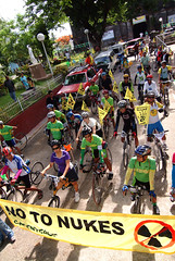 "Volunteers of Greenpeace, Livestrong and Firefly Brigade leave Morong, Bataan 180 kilometers west of Manila, during the start of the ""Energy Revolution Bike Ride to oppose the proposed revival of the Bataan Nuclear Power Plant."