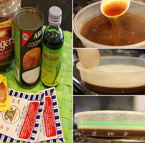 vietnamese coconut, pandan, coffee jelly, agar