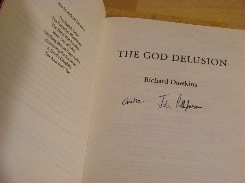 John Polkinghornes signature on The God Delusion