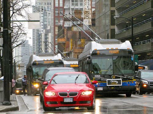 New Flyer trolleybuses in Vancouver rush hour traffic