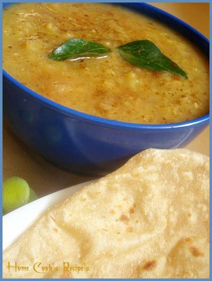 Potato and Leek with Moong Dal
