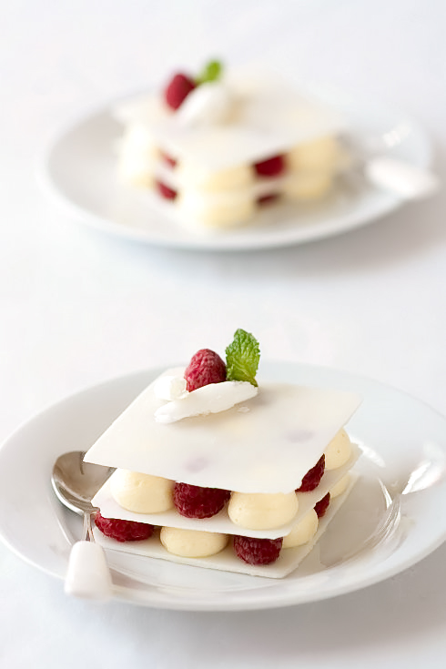 Raspberry and Cardamom Mousse White Chocolate Layers