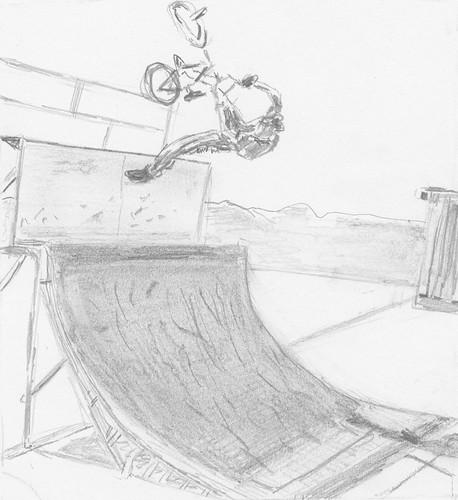 BMX bike on a ramp