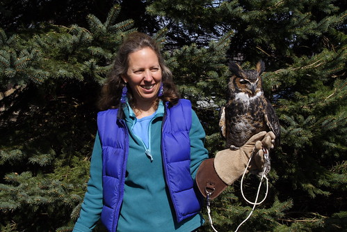 Carol Holmgren and Ick-a-Bobette, the Great Horned Owl