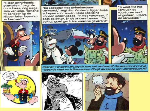 Popeye , kapitein Wal Rus en kapitein Haddock