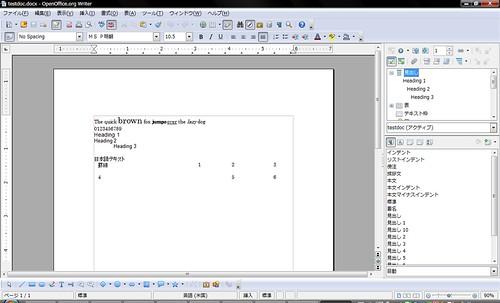 Test Document 1 (OOXML) on OpenOffice.org 3.1 RC2
