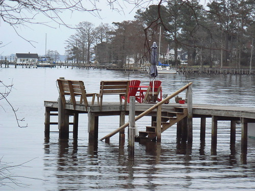 Pasquotank River - Red Chairs on Doc
