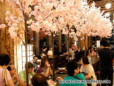 Plastic sakura flowers decor