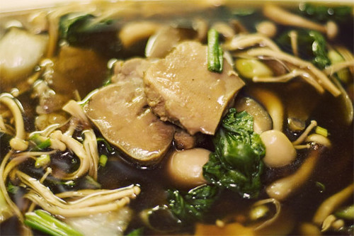 Stewed pig's tongue w/ mushroom and veggie