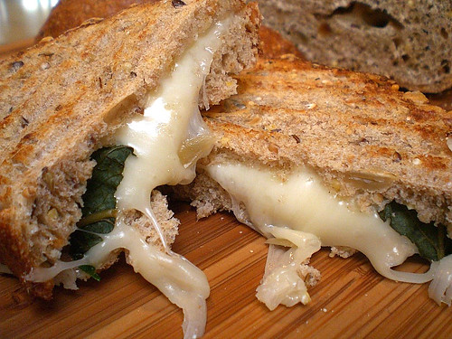 Grilled & Chunky Chicken Soup with Cheese Basil Sandwich