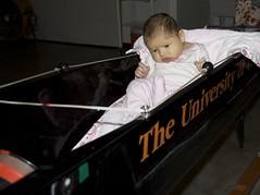 Like any good coxswain, Elena focuses on steering a straight course.