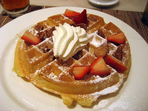 my boyfriends breakfast, waffle with strawberries, 5/10/2009