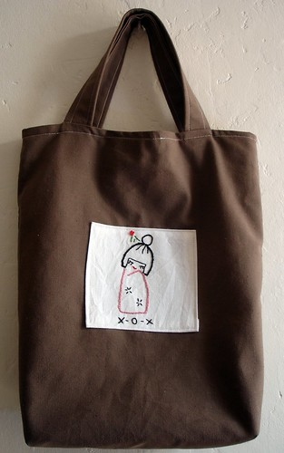 Brown tote with embroidery