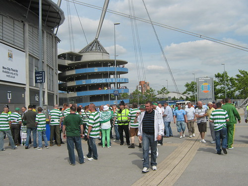 Celtic fans queue before the game