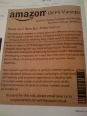 Amazon PR Week Job Posting
