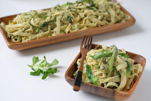 Scrambled Pasta and Spring Greens