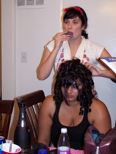 Stephanie prepares hair