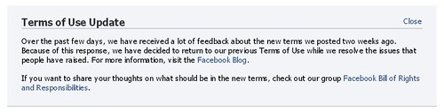 Facebook  reverts to previous TOS