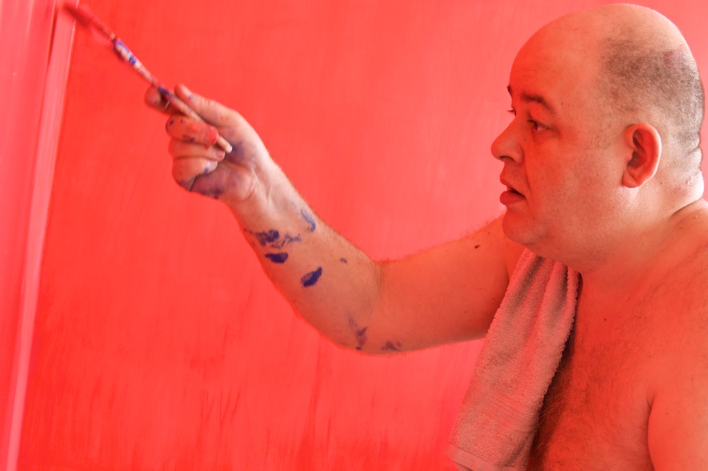 Monk painting on Erotic red which was picked by my wife.....that promises!