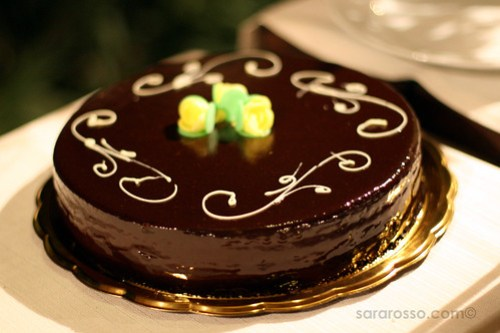 Sacher Torte at a Wedding Dessert Buffet in Sicily, Italy