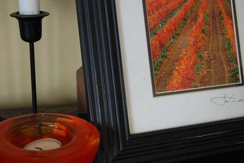 Orange photo and candle holder