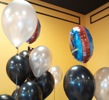 Black and silver balloons with two Mylar Star Wars Clone Wars balloons